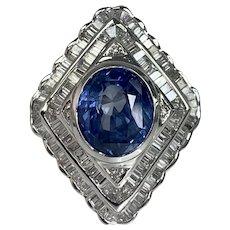 18K White Gold Oval Cut Blue Sapphire Diamond Ring