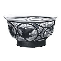 Molded glass bowl Lalique signed Daum France