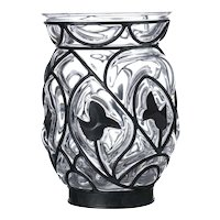 Molded Glass Vase Molded and relegated crystal, with metal, signed Lalique, France