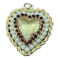 Vintage 14K Yellow Gold Heart Charm Encircled Rope Chain with Cultured Pearls & Garnets
