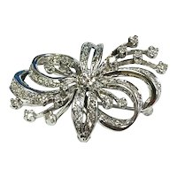 Vintage 14k White Gold Diamond Bow Pendant Brooch 1.23ct Weighs 7.7 Grams