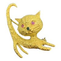 """Vintage 18k Gold Cat Brooch Ruby Eyes Emerald Nose Signed """"MR"""""""