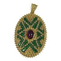 Vintage 18k Gold Locket Pendant Amethyst Center Stone Green Baked Enamel Lined