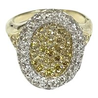 Vintage 18k Yellow Gold Canary & White Diamond Ring