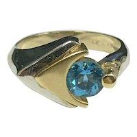 Mid-Century Modern 2 Tone 14k White & Yellow Gold 1ct London Blue Topaz Ring