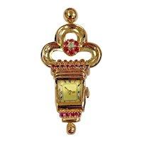 Art Deco 14k Rose Gold Lapel Watch