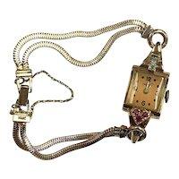 14k Rose Gold Croton Ladies Watch with Diamonds & Rubies