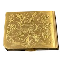 Vintage 1940's Elgin American Etched Bird & Floral Compact Inc Puff Made in USA