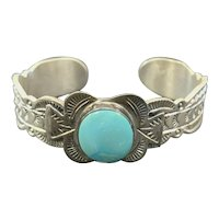 Vintage Frank Arviso Native American Sterling Silver Turquoise Cuff Bracelet