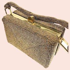 Vintage Fre-Mor Creation Cooper Beaded Handbag Box Frame Purse c1940s - c1950s