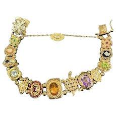 Vintage 14k Gold Multi-Gem Slide Robert Klein KLJCI Bracelet Weighs 57.8 Grams