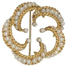 Vintage Tiffany & Co 18k Gold Diamond Cultured Pearl Brooch Pin