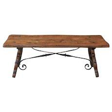 Antique Spanish Colonial Oak & Iron Catalan Style Coffee Table Farmhouse Ranch