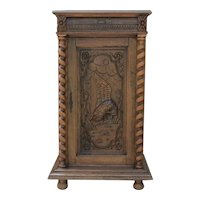 Antique French Oak BARLEY TWIST Black Forest Bar Wine Liquor Cabinet Cupboard