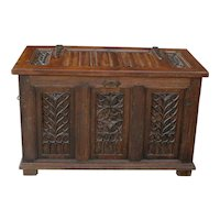 Antique French GOTHIC Oak Coffer Chest Blanket Box Entry Table Trunk 19th C