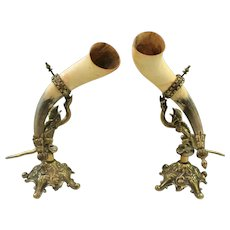 Antique French PAIR Trophy Drinking Horns Hunt Brass Renaissance DRAGONS Statue