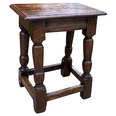 """Antique English Oak Joint Stool Bench Footstool Turned Post Pegged 19.5"""" T"""