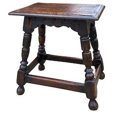 """Antique English Oak Joint Stool Footstool Bench Pegged Turned Post 18"""" T"""