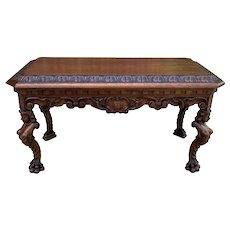 Antique French Coffee Table Paw Feet Renaissance Revival Bench Window Seat Oak