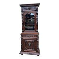 Antique French Bookcase HUNT Cabinet Dark Oak Black Forest Renaissance Display