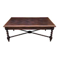 Antique French Dining Table Draw Leaf Desk Library Conference Table Barley Twist