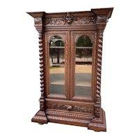 Antique French Bookcase Display Cabinet Renaissance Oak Barley Twist 19th C