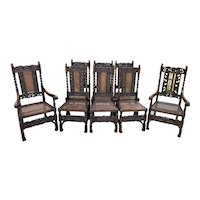 Antique English Chairs SET OF 8 Barley Twist Caned Oak Dining Chairs Fireside