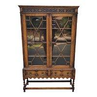 Antique English Bookcase Jacobean Display Cabinet Barley Twist Tiger Oak