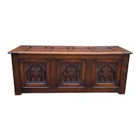Antique French Trunk Blanket Box Coffee Table Chest Oak Gothic Shields c.1920s