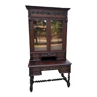Antique French Desk Upper Bookcase Cabinet Barley Twist Writing Desk Oak 19th C