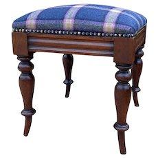 Antique English Stool Footstool Vanity Bench Oak Blue Plaid Wool Upholstered