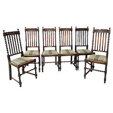 Antique English Chairs SET OF 6 Barley Twist Oak Green Upholstered Seats 1930s