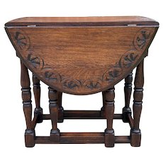 Antique English Table Drop Leaf Gateleg Turned Post Legs Oval Oak Carved Top