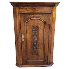 Antique English Corner Cabinet Tiger Oak Wall Hanging Cabinet Storage Large 19C