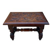 Antique English Kettle Stand Foot Stool Oak Turned Post Carved Top Leaves PETITE