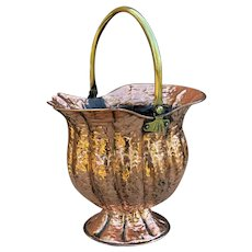 Antique English Planter Basket Hammered Copper w Brass Handle Coal Hod Hearth