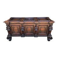 Antique French Trunk Blanket Box Coffer Chest Oak Storage LARGE Lion 18th C