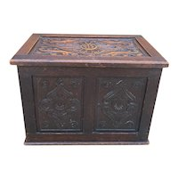 Antique English Blanket Box Chest Trunk Coffer Storage Chest Carved Oak PETITE