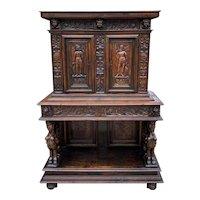 Antique French Cabinet Cupboard Buffet Deux Corps Bar Liquor Cabinet Walnut 18C