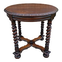 Antique English ROUND Table End Occasional Table BARLEY TWIST Oak