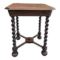 Antique French Side End Table Barley Twist Legs Canted Corners Oak Square Top