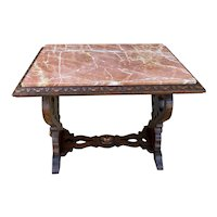 Antique French Coffee Table Bench Settee Marble Top Oak Renaissance Revival