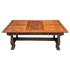 Antique French Dining Table Desk Conference Library Table Paw Feet Oak 19th C