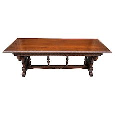 Antique French Dining Table Desk Library Conference Table Renaissance Walnut