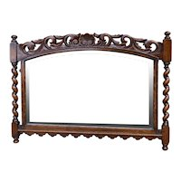 Antique English Mirror Barley Twist Posts Jacobean Oak Beveled Mirror