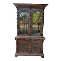 Antique French Oak Bookcase HUNT Display Cabinet Jacobean Sideboard Gun Cabinet
