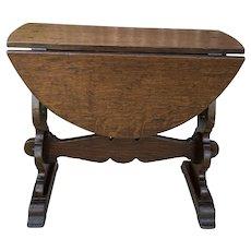 Antique English Table Drop Leaf Trestle Base PETITE Oak Pegged Table End Table
