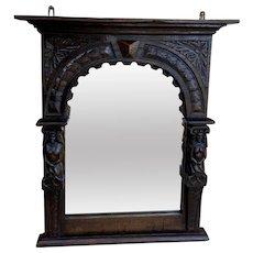 Antique English Mirror Renaissance Revival Oak Frame Figural Carvings Wood Back