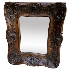 Antique French Rococo Mirror CARVED OAK Wood Back Framed Wall Mirror 1920