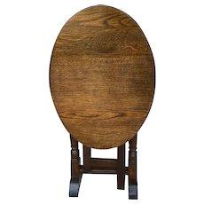 Antique English Table Oval Flip Top Gateleg Oak Trestle Feet Nightstand